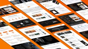 Isometric view of website designs