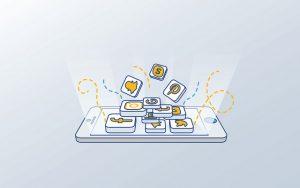 illustration of phone showing social media shares