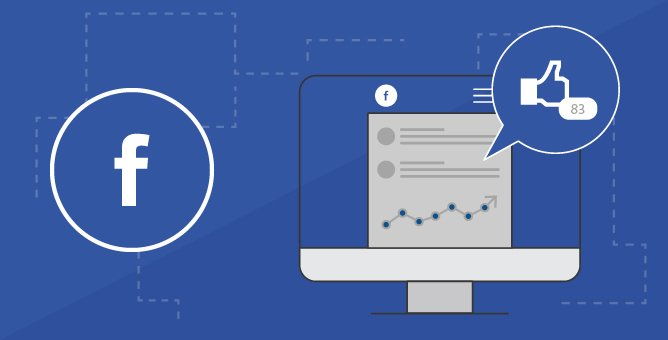 Illustration of Facebook ad like and graph